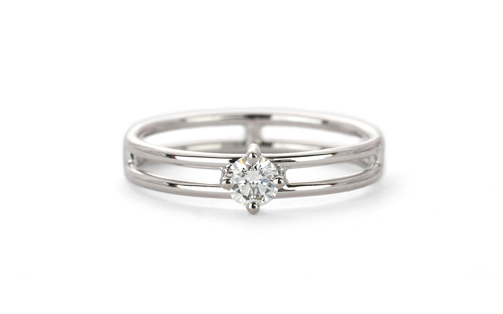 Solo Split Diamond Ring - white gold