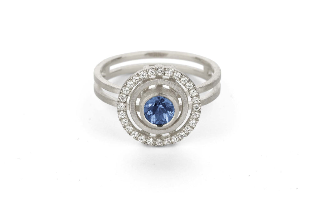 Blue Solar Ring - medium, white gold