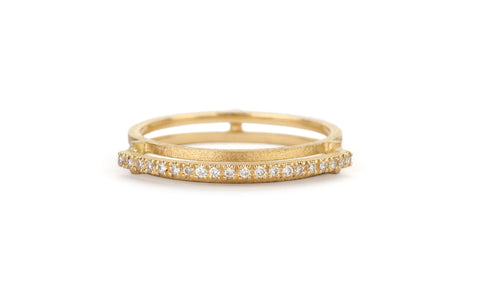 Diamond Line Arc Ring - single