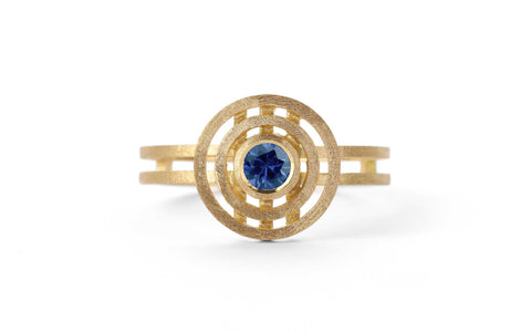 Mini Double Nova Ring - blue sapphire