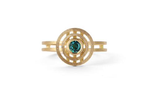 Mini Double Nova Ring - teal tourmaline