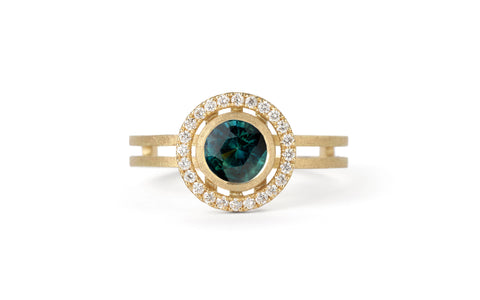Atmos Ring - teal sapphire