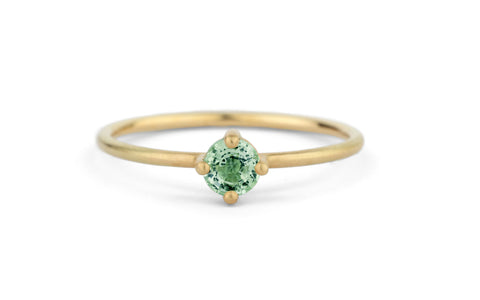 Mint Green Round Solo Ring - fine