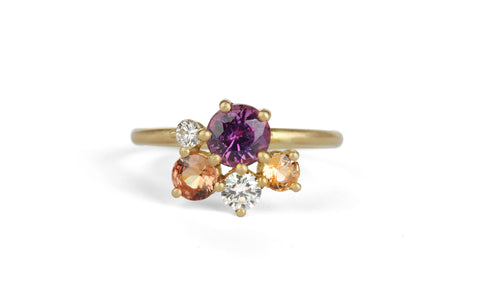 Sunset Sapphire Stella Cluster Ring