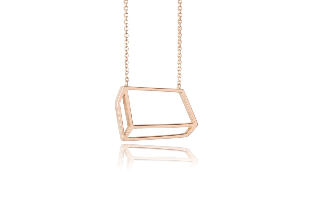 Flat cuboid necklace - 18ct gold