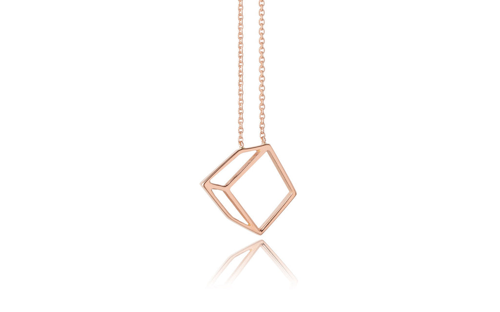 Small cuboid necklace - 18ct gold