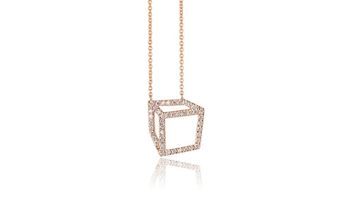 Small set cuboid necklace - 18ct gold