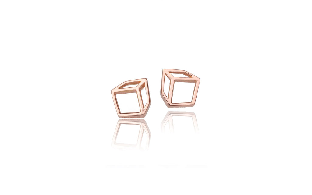 Small cuboid studs - 18ct gold