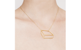 Golden flat cuboid necklace