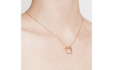 Golden small cuboid necklace
