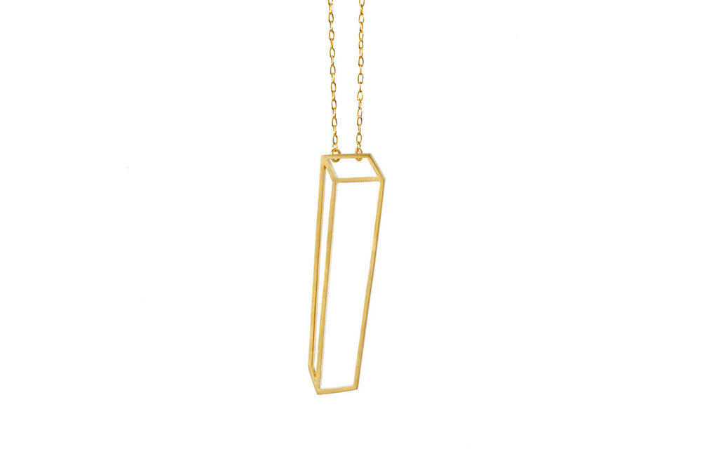 Golden long cuboid necklace