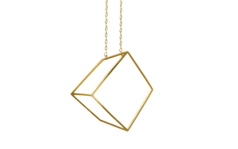 Golden large cuboid necklace
