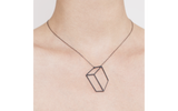 Black flat cuboid necklace