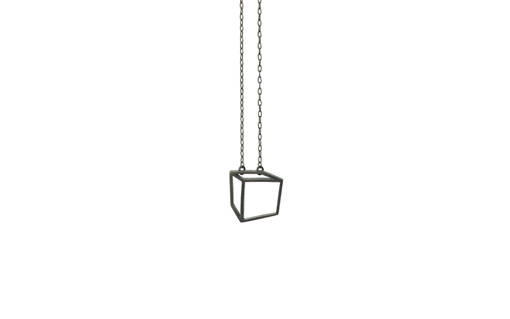 Black small cuboid necklace