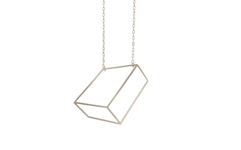 Silver flat cuboid necklace