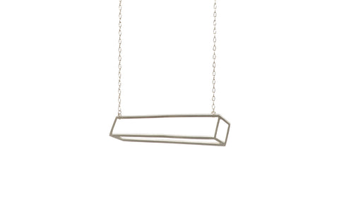 Silver long cuboid necklace