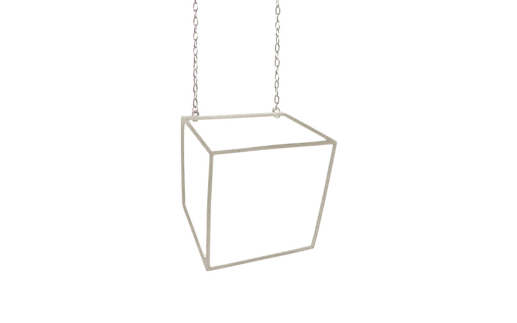Silver large cuboid necklace