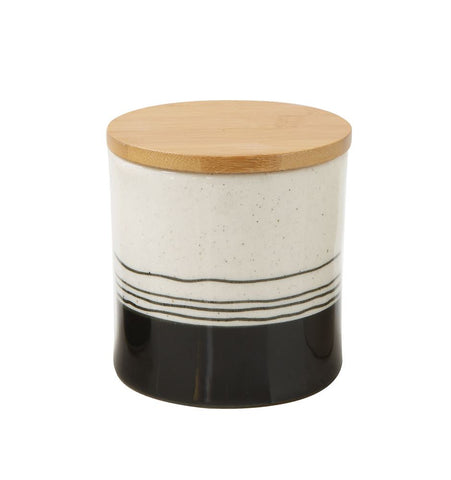 Handpainted Stoneware Canister, Medium