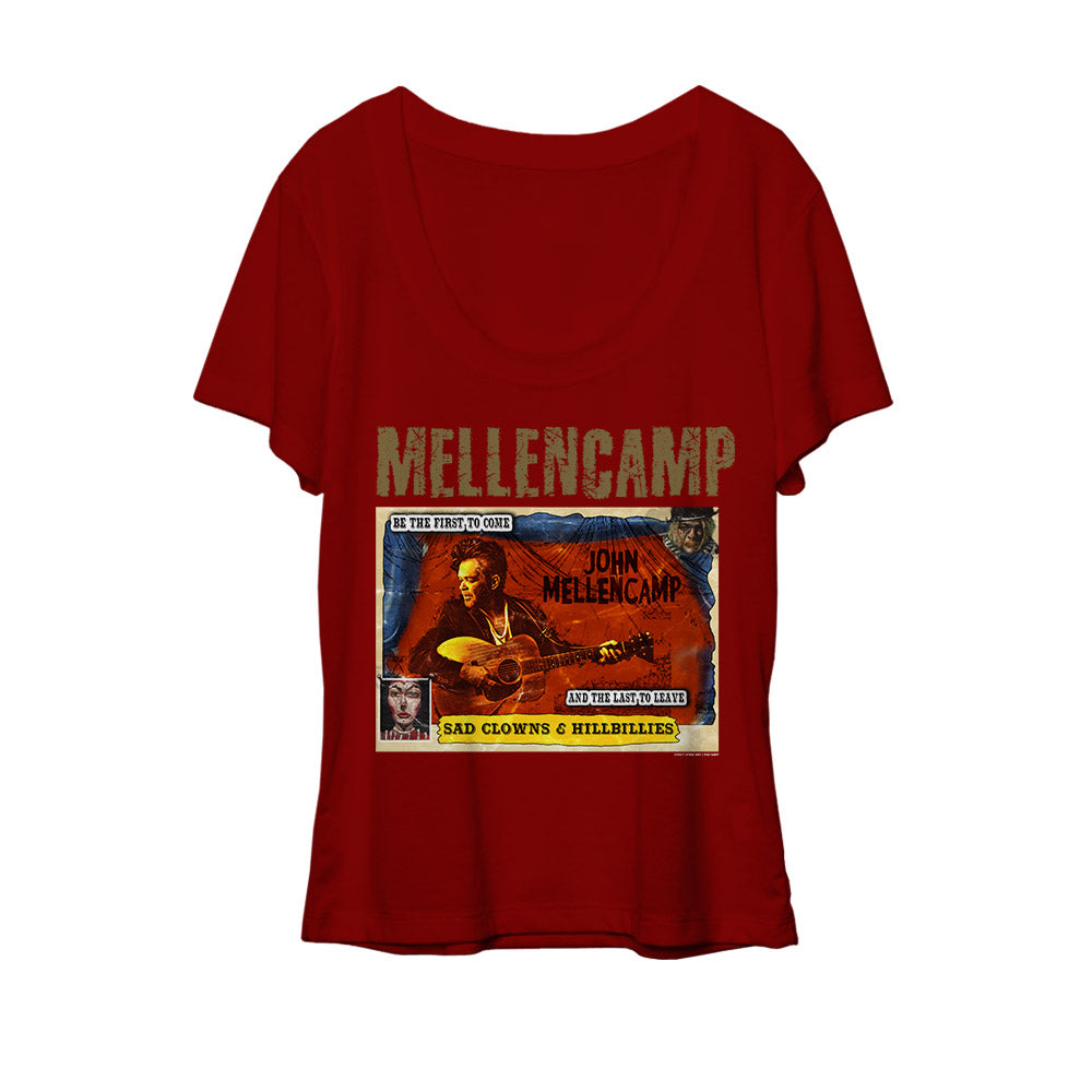 John Mellencamp red scoop women's comic book tee-John Mellencamp