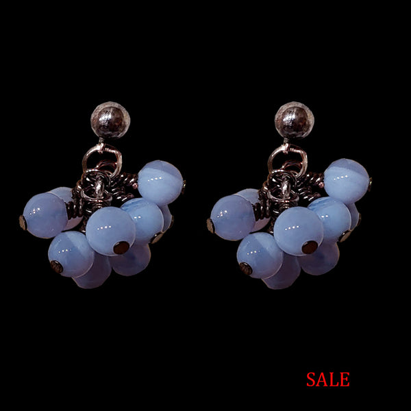 Blue Lace Agate Bauble Earring
