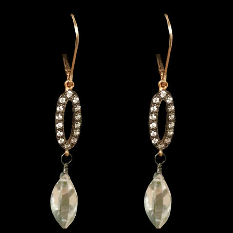 Crystal Studded Ovals with Green Amethyst