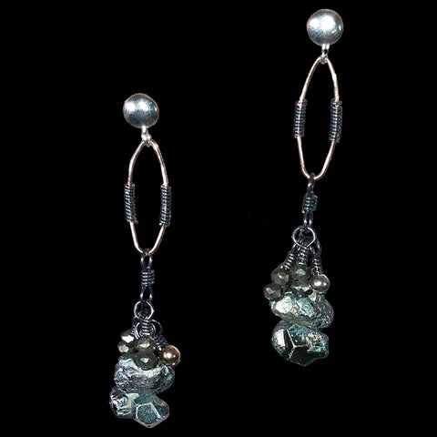 Green pyrite and black pyrite baubles