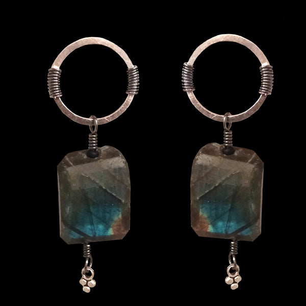 Rectangular Labradorite Drop