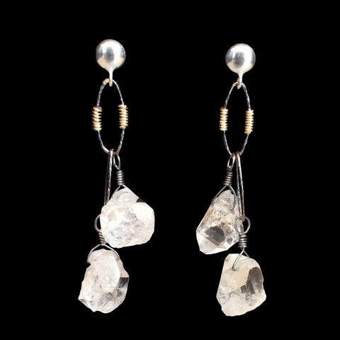Two Rough cut quartz drops