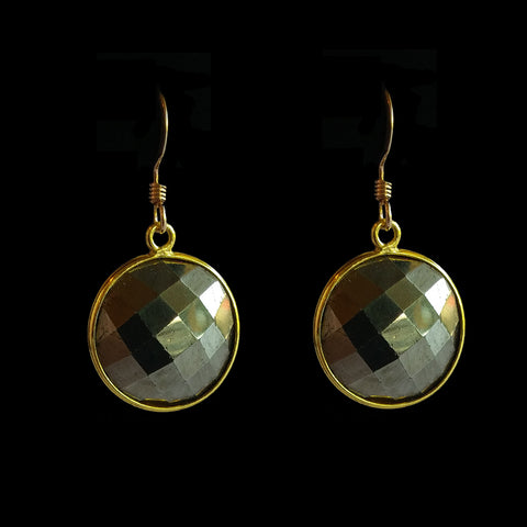 Vermeil Cased Pyrite Coin Shape Drop