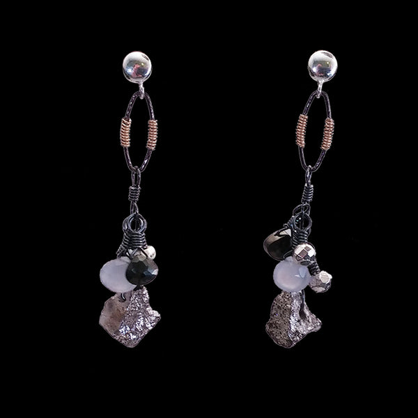 Chalcedony and pyrite bauble drop
