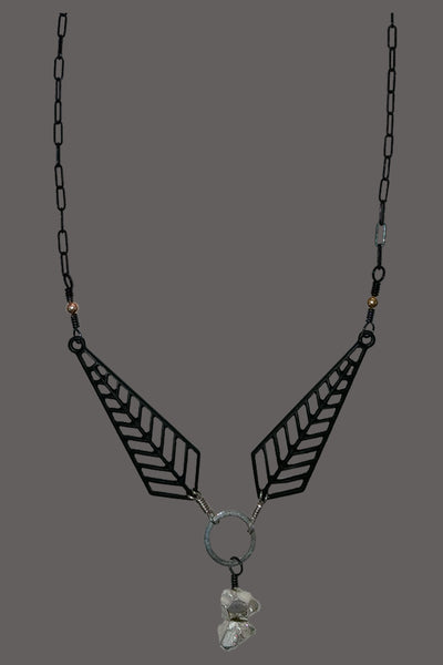 Black Metal Chevrons with Silver Pyrite Drop
