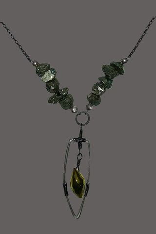 Short Necklace Green Pyrite Nuggets with Wire Spear