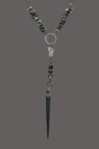 Green Pyrite Nuggets Black Spear