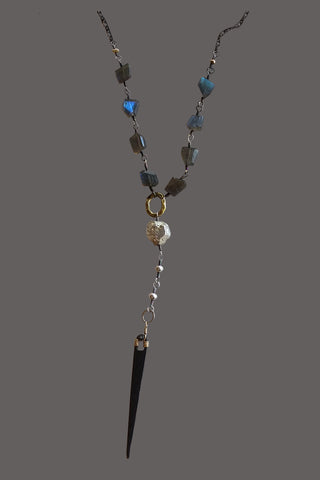 Labradorite Nuggets with Black Metal Spear