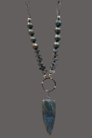 Labradorite and Metallic Green Hematite Rondelles with Labradorite Spear