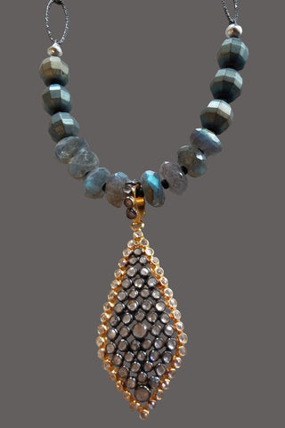 Vermeil and White Topaz  Drop