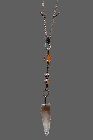 White Chain with Quartz Spear