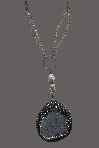 Marcasite encased Grey Druzy
