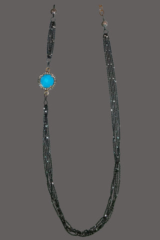 Asymmetric Vermeil cased Turquoise with Pave Diamonds
