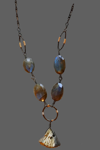 Labradorite Ovals with Gold Pyrite Drop