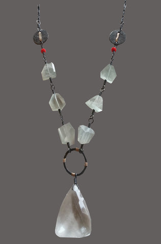Quartz Drop with Moonstone nuggets