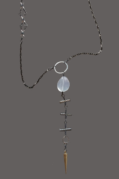 Cloudy Quartz with Brass Spear