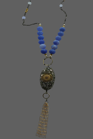 Marcasite Cased Bead with Blue Agate