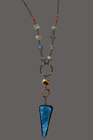 Marcasite Cased Blue Druzy Arrow