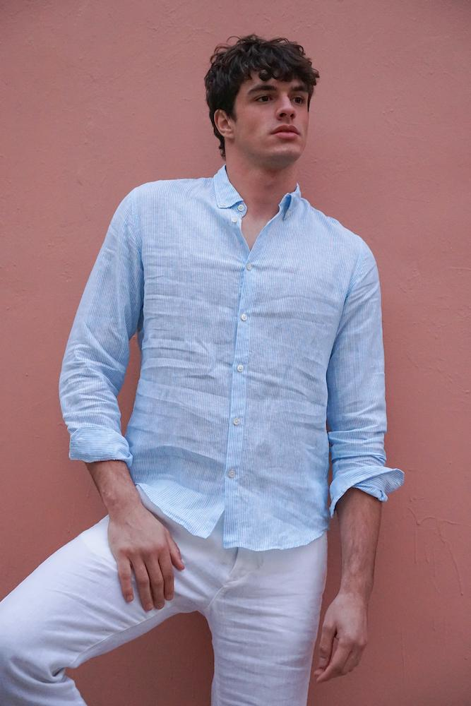 Faros Blue Stripes Linen Shirt - FAROS LINEN