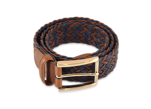 Anderson's Braided Belt - Brown & Navy