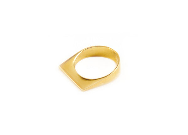 Alibi Slanted Edge Ring - Gold