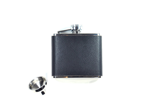 Concord Black Bison Leather & Stainless Steel Flask - 4oz
