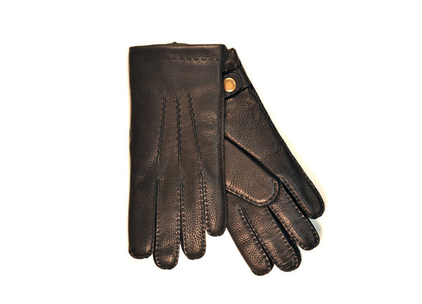 Dents Black Deerskin Cashmere Lined Men's Gloves with Stud