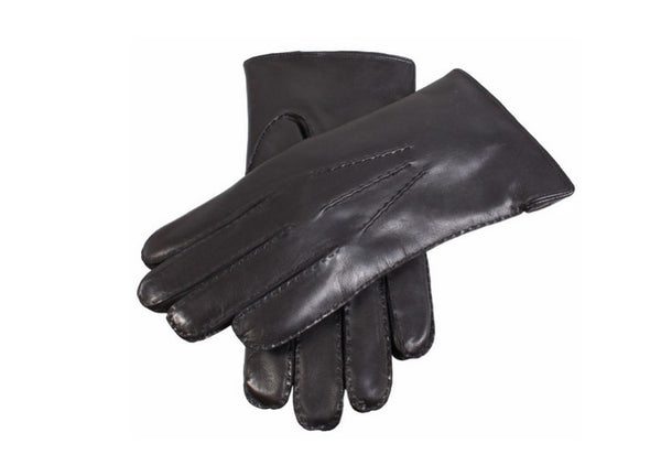 Dents Black Leather Rabbit Fur Lined Men's Gloves